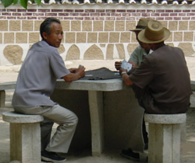 Old men playing cards, Koryo Museum, Kaesong