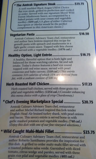 Amtrak Silver Service Menu